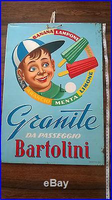 Rara Insegna Vintage Gelati Granite Bartolini Ghiaccioli Ice Cream Sign