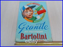 Rara Insegna Vintage Originale Gelati Granite Bartolini Ghiaccioli Sign