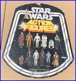 Rare 1977 Vintage Star Wars Action Figures Bell Shape Cardboard Store Display
