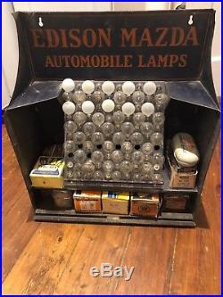 Rare Edison Mazda Automobile Lamps Store Display Metal Cabinet Sign Vintage Bulb