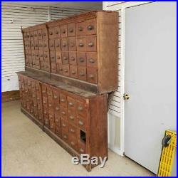 Rare Large Antique Vintage 1800's Oak Pharmacy Apothecary 2 Piece 10FT Cabinet