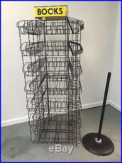 Rare! VTG Metal Book Store Display rack / stand