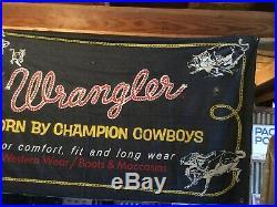 Rare! Vintage 1950s Wrangler Pro Rodeo Store Display Denim Banner Huge