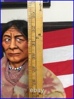 Rare! Vintage Huge Skookum Indian Store Display Figure 33 Inches Tall