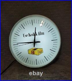 Rare Vintage Kodak Use Kodak Film Advertising Lighted Wall Clock By Dualite