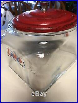 Rare Vintage Large Lance Cracker Cookie Jar Store Display with Metal Lid
