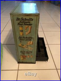 Rare Vtg Antique DR. Scholl's General Store Tin Cabinet Advertsing Display