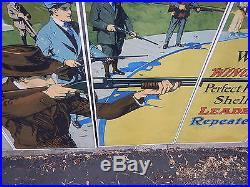 Rare Winchester Store 5 Panel Window Sign Display Trap Shooting Model 12 Shotgun
