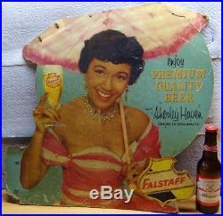 Scarce 1950s Vtg Falstaff Beer St Louis Ethnic Pinup Liquor Store Display Sign
