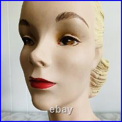Stunning Vintage 1930's Plaster Store Display Lady Mannequin Hat Head Bust #45