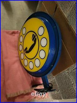 Tabella Insegna Luminosa Vintage Bifacciale Telefono Funzionante