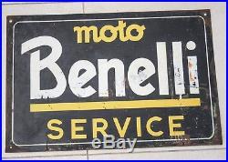 Tabella Targa Insegna Latta Moto Benelli Service Vintage