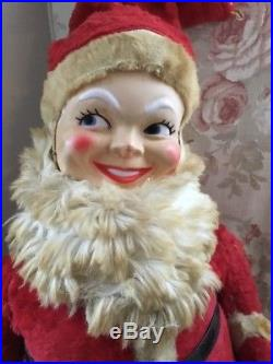 The Cutest Vintage Stuffed Plush Santa Claus! Big Eyes Flirty Store Display 36