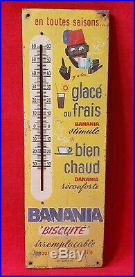 Thermometre Banania en Tole années 1950 plaque menier kub ancienne vintage