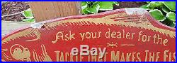 Ultra Rare Early 1900's Fishing Tackle Fish-Shaped Diecut Advertising Sign