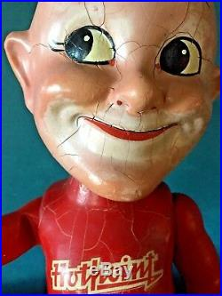 VINTAGE 1930's CAMEO HAPPY THE HOTPOINT MAN GE ADVERTISING, WOOD JOINTED DOLL