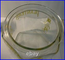VINTAGE 1930s Glass Hexagon PLANTERS MR. PEANUT Lidded Glass Jar Made in USA