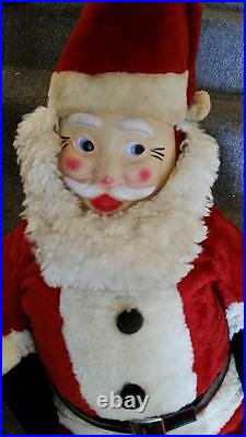 VINTAGE 1950'S SANTA CLAUS STUFFED STORE DISPLAY 44' tall rubber face
