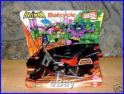 VINTAGE BATMAN MEGO BATCYCLE TOY ON STORE DISPLAY CARD 1970s ORIGINAL batmobile