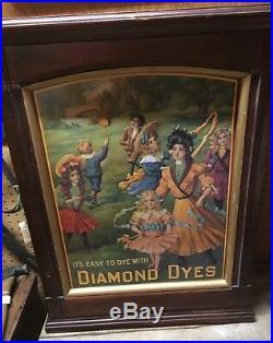 VINTAGE DIAMOND DYE DISPLAY CABINET Store Advertising 1900's