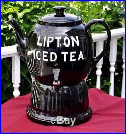VINTAGE HALL LIPTON ICE TEA DISPENSER & STAND Restaurant Soda Fountain Display