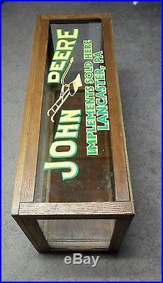 Vintage Original John Deere Glass Amp Tiger Wood Store Counter