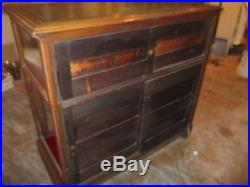 Vintage Store Display Case Solid Red Oak Hand Carved Large Case For Collectables