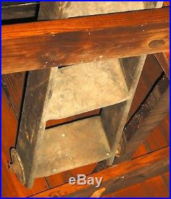 VINTAGE TALL LATE 1800's F. E. MYERS BROS. COUNTRY STORE RUSTIC LADDER 15 STEPS
