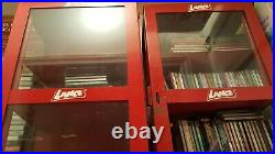 VTG LANCE Display Cabinet 26.5T X 14.5W & 9D Glass & Red Metal Advertising