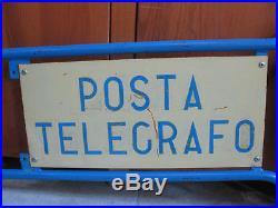 Vecchia Insegna Posta E Telegrafo Pt Vintage Ufficio Postale Pubblicitario Post