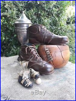 Very Rare, vintage 3.75 Salesman sample leather footbal shoes with leather cleat