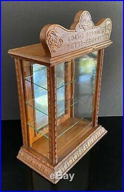 Vintage 1900's Adams Pepsin Tutti-Frutti Oak & Glass Gum DISPLAY CASE Nice