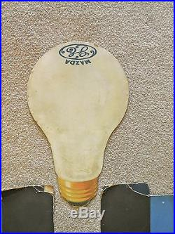 Vintage 1930's GE MAZDA LIGHT Bulb Store Display Cool Art Deco Advertising Piece