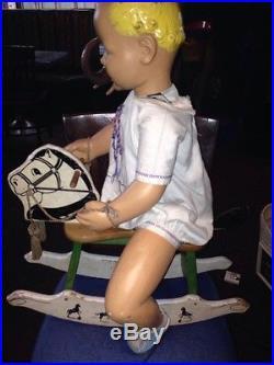 Vintage 1930s Automaton Animatronic Baby On Rocking Horse Store Display