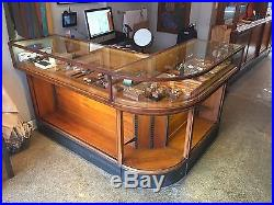 Vintage 1930s Curved Glass Display Case Store Counter