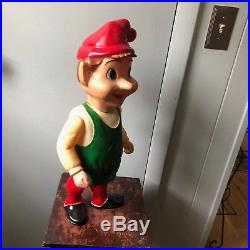 Vintage 1950's Union Blow Mold Hard Plastic Jointed Store Display Christmas Elf