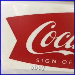 Vintage 1950s Coca Cola Fishtail Store Display Light Sign Of Good Taste Soda Pop