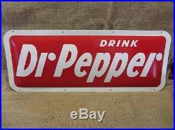Vintage 1950s Metal Dr Pepper Curved Sign Antique DP Signs Cola Beverage 9144