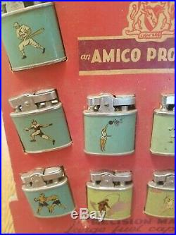 Vintage 1960's Amico Sportsman Lighter Store Counter Display complete 12 Lighter