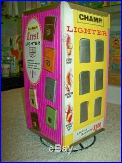 Vintage 1960s Champ Lighters Retail Store Display With 24 NewithMint Lighters