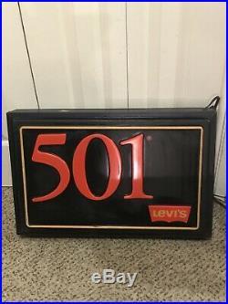 Vintage 1985 Levi's 501 Jeans Light Store Display Hanging 2 Sided Sign Works
