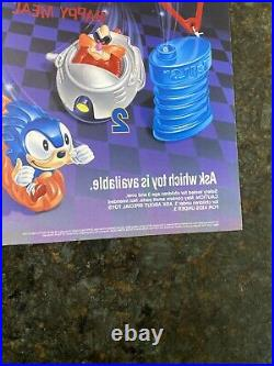 Vintage 1993 Sega Sonic The Hedgehog 3 Store Display Sign Translite McDonald's