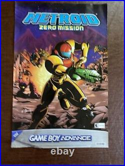 Vintage 2004 Nintendo GameBoy Metroid Zero Mission store Display Sign Poster GBA