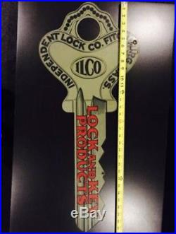 Vintage 32 Ilco Key Sign Double Sided Die Cut Key Shaped Sign Hardware Store