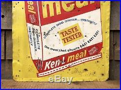 Vintage 50s KEN-L MEAL Dog Food Advertising Sign Animal Feeds Pet Store Display
