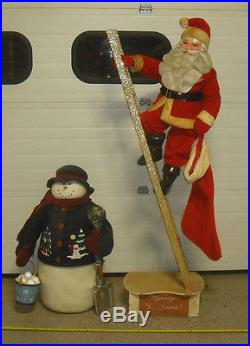 Vintage 72 Department Store Display Christmas Santa Claus Doll With Snowman