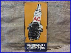 Vintage AC Spark Plug Advertising Sign Antique AC Delco Garage RARE 8883