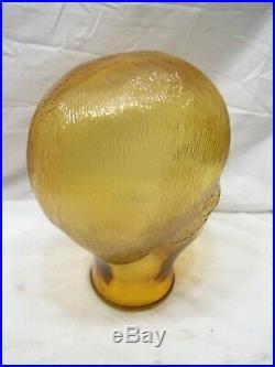 Vintage Amber Glass Mannequin Head Store Men's Hat Wig Display