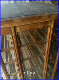 Vintage Antique Authentic Oak 1895 General Store Display Ribbon Cabinet