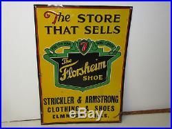 Vintage Antique Florsheim Shoe Store Display Tin Advertising Original Sign